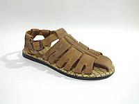 Кожаные мужские удобные стильные модные коричневые сандалии Broni