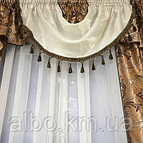 Готовые шторы в спальню ALBO 150х270cm (2 шт) и ламбрекен коричневый (LS-215-2), фото 4