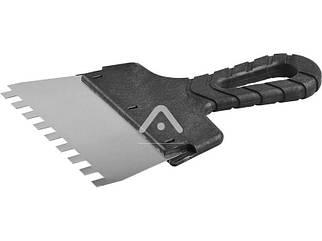 Шпатель нержавіючий з пластмасовою ручкою 150 мм, зуб 8х8 Латімер