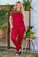 Костюм брючный женский большой размер So StyleM с вставками из гипюра Бордовый