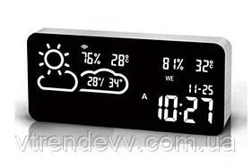 Часы настольные электронные VST-882 с погодой и Wi-Fi от сети black/white
