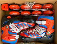 Ролики детские раздвижные Profi A 4122-S-R, 2 вида, размер 31-34, 35-38, красный, свет переднего колеса