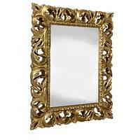 Дзеркало навісне Піонія в декоративній золотистої рамі 1000х800 Elite Decor ТМ Миро-Марк, фото 1