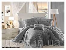 Комплект постельного белья  first choice евро размер c покрывалом Nirvana Excellent gri