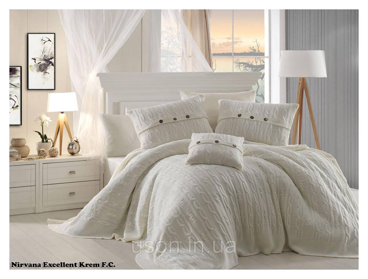 Комплект постельного белья  first choice евро размер c покрывалом Nirvana Excellent krem
