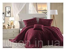 Комплект постельного белья  first choice евро размер c покрывалом Nirvana Excellent bordo