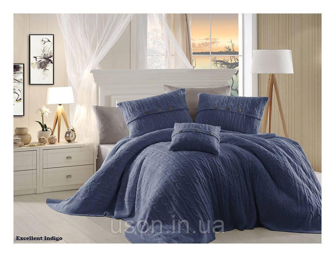 Комплект постельного белья  first choice евро размер c покрывалом Nirvana Excellent indigo
