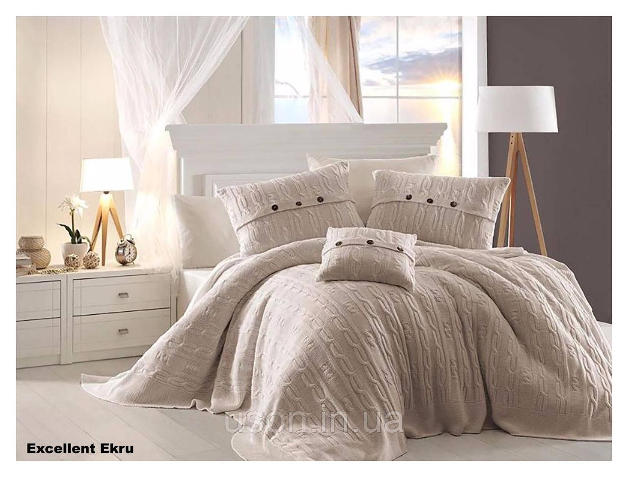 Комплект постельного белья  first choice евро размер c покрывалом Nirvana Excellent ekru