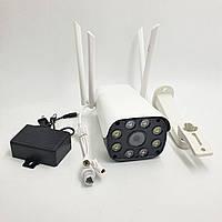 IP Камера відеоспостереження вулична Wi Fi HD 1080p 2 Mp 4 антени UKC CAMERA CF32-31DK200-QM біла