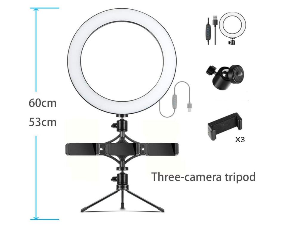 Кільцева лампа для блогерів (12 см. діаметр кільця)+ подвійне кріплення для телефонів