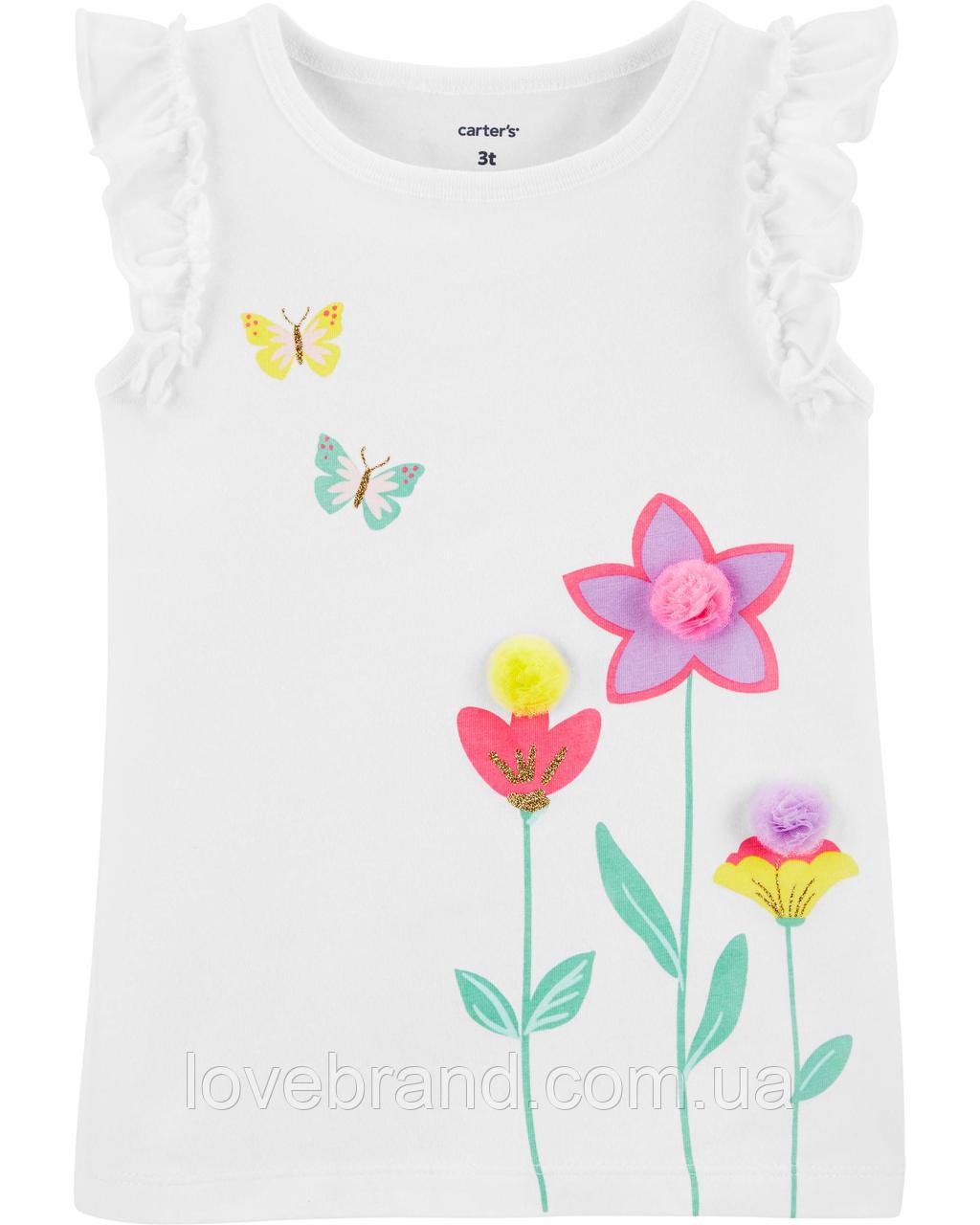Нарядная маечка для девочки Carter's белая в цветочки для новорожденных