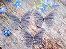 """Аплікація, """"Метелик шифонова"""", двошарова, колір на фото, 48х35 мм, 1 шт."""