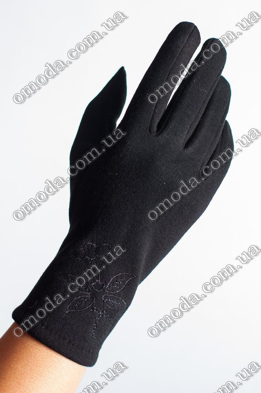 Женские трикотажне перчатки (стрейчевые) чёрные
