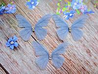 "Аппликация, ""Бабочка шифоновая"", двухслойная, цвет на фото, 45х35 мм, 1 шт."
