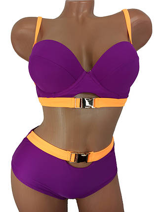 Неоновый купальник с высокой талией Push Up Kesell 2225 фиолетовый на 44 46 48 50 52 размер, фото 2