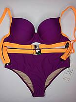Неоновый купальник с высокой талией Push Up Kesell 2225 фиолетовый на 44 46 48 50 52 размер, фото 3
