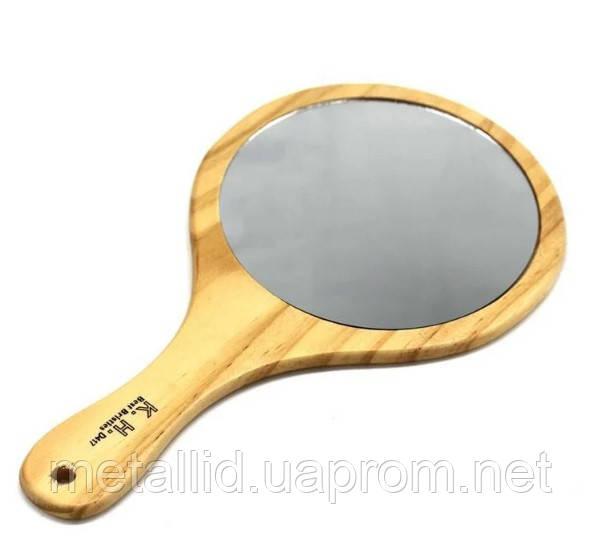 Дзеркало для клієнта кругле в дерев'яній оправі YRE