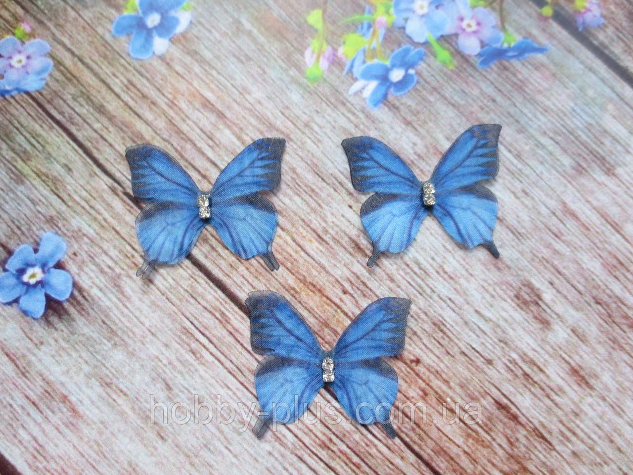 "Аппликация, ""Бабочка-мини шифоновая"", двухслойная, цвет на фото, 32х26 мм, 1 шт."
