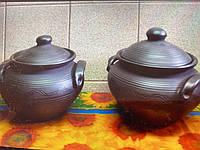 """Супниця глиняна з кришкою """"Чорна кераміка""""  2,5 літра ручна робота, фото 1"""