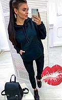 Спортивный костюм женский теплый БАТАЛ 48-52р цвет БУТЫЛКА