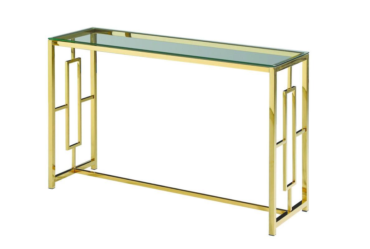 Стол Консоль CL-3 прозрачный + золото / clear gold ТМ VetroMebel