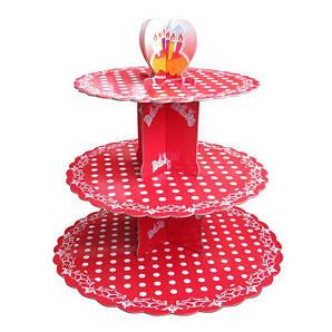 Стенд трёхъярусный картонный круглый для капкейков красного цвета с горошком (шт)