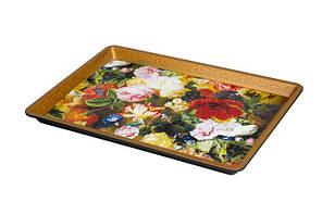 Поднос пластиковый прямоугольный с цветочками 325х230х25 мм (шт)