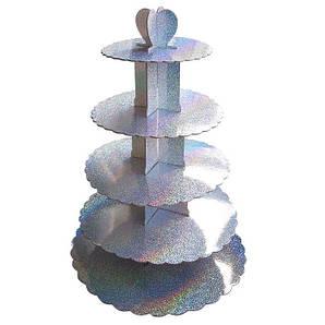 Стенд пятиярусный картонный круглый для капкейков серебрянного цвета с голограммой (шт)