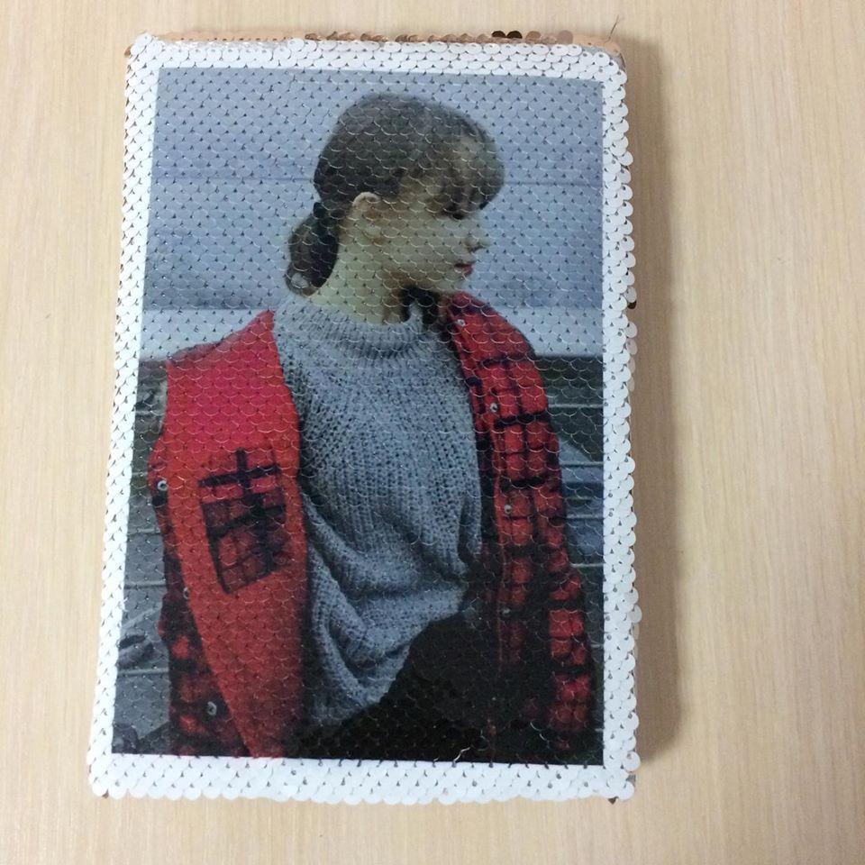 Печать фото  на блокноте с пайетками
