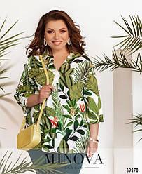 Удобная рубашка с воротником-стоечкой,размер 50,52,54,56