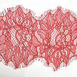 Ажурное французское кружево шантильи (с ресничками) красного цвета шириной 13 см, длина купона 3,0 м., фото 6