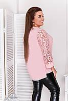 Блуза женская удлиненная большого размера пудра
