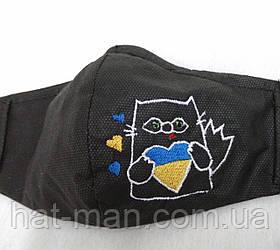 """Маска з вишивкою """"Патріотичний кіт"""""""