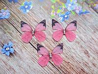"Аппликация, ""Бабочка-мини шифоновая"", двухслойная, цвет на фото, 31х27 мм, 1 шт."