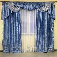 Комплект штор в гостинную, шторы с ламбрекеном на карниз в зал спальню кухню гостинную, красивые ламбрекены в, фото 7