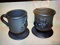 """Чашка дід з бабою """"Чорна кераміка"""" ручна робота"""