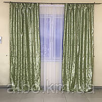 Готовые шторы ALBO 150х270cm (2шт) и ламбрекен на карниз 300-350 cm Зеленый (LS-210-4), фото 3