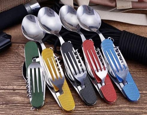 Походный набор Турист 6 в 1 Нож, вилка, ложка набор складных столовых приборов
