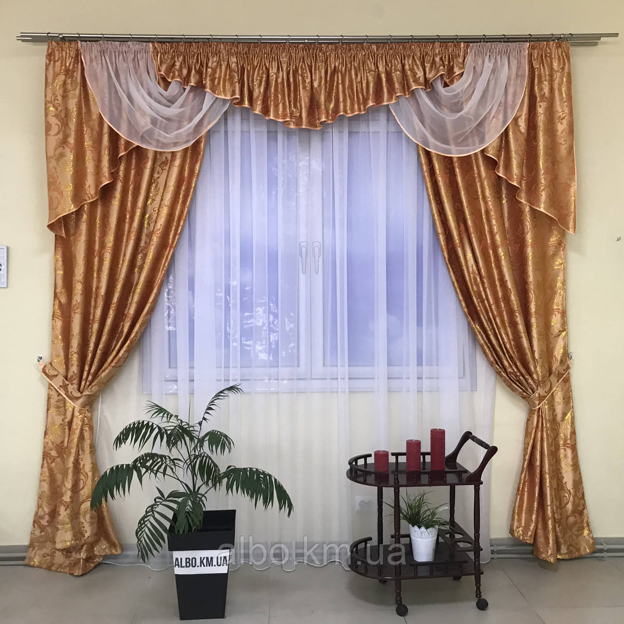 Готовые шторы на кухню ALBO 150х270cm (2шт) и ламбрекен на карниз 300-350 cm Персиковый (LS210-17)