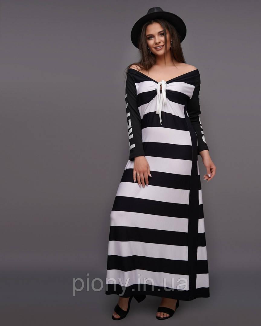 Женское Длинное Платье принт Батал