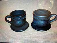 """Чашка з блюдцем """"Чорна кераміка"""" ручна робота"""