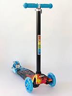 Детский трехколесный самокат со светящимися колесами 10 цветов