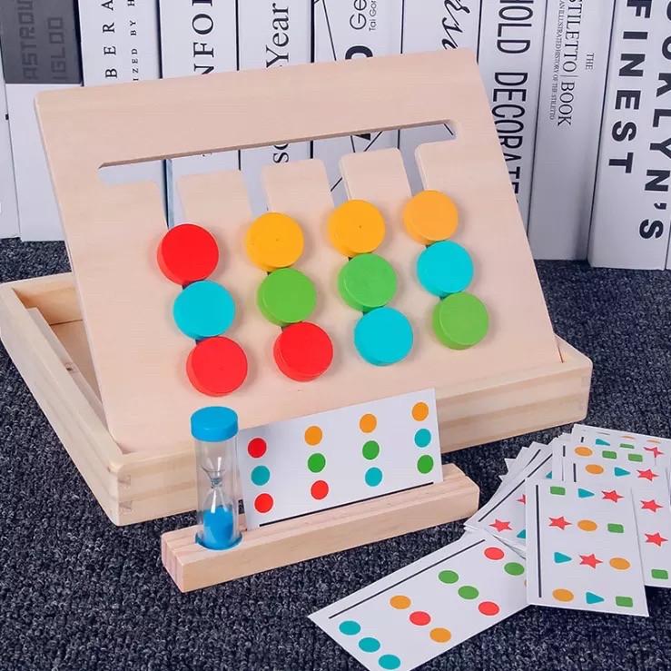 Деревянная двусторонняя логическая игра Четыре цвета