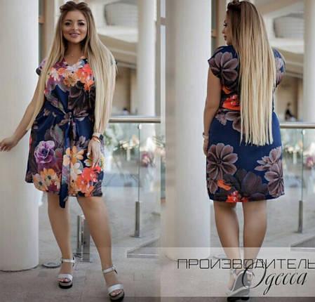 Сукня міні батал літній, зручно і стильно на кожен день, р. 50,52,54,56,58,60 код 749О, фото 2