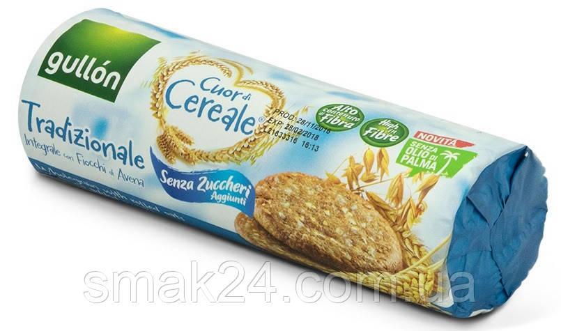 Печенье без сахара и пальмового масла цельнозерновое с овсяными хлопьями  Gullon Cuor di Cereale 280г  Испания