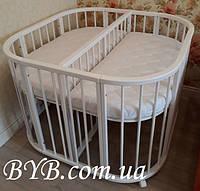 Овальная детская кроватка-трансформер для двойни/близнецов/погодков