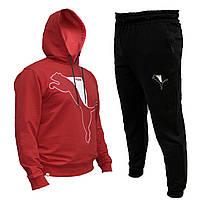 Спортивный мужской костюм Puma с капюшоном красный весна-лето, повседневный костюм  | AD sport