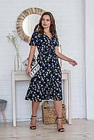 Легкое летнее платье на запах с коротким рукавом (40-50рр), миди, за колено, принт лютики на темно-синем