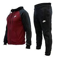 Спортивный мужской костюм  Nike. С капюшоном черно-бордовый, весна-лето, повседневный костюм