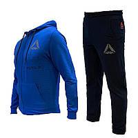 Спортивный мужской костюм Reebok с капюшоном синий, весна-лето, повседневный костюм | AD sport